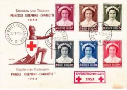 912 917 PC 15 Commémoratif  Overstromingen Inondations Croix-Rouge Joséphine Charlotte Princesse 30-3-1953 B Automobiel - FDC