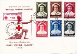 912 917 PC 13 Commémoratif  Overstromingen Inondations Croix-Rouge Joséphine Charlotte Princesse 5-4-1953 B Automobiel - FDC