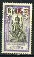 INDE 58*  Timbre De 1914 Surchargé 5c Sur 15c Violet Et Noir - Unused Stamps