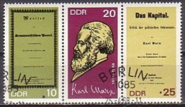 Marx,  DDR  1365/67 ZD , O ,  (G 1943) - Karl Marx