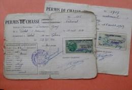 Lot De 2 08 RETHEL PERMIS DE CHASSE Timbres Fiscaux,tampons - Revenue Stamps
