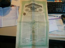 OBLIGATION  EMPRUNT ROYAUME DE ROUMANIE 1923 ILLUSTRATION ATTELAGE DE BOEUFS - Agriculture