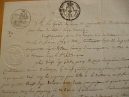 Rare Lettre De Voiture Par Eau Manuscrit Voiture Baille Pour Cette, Sète 1819  Papier Filigrane Timbre Royal Fiscal - Transports