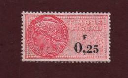 Timbre Fiscaux - Oblitéré - 0,25 F.  Rose - Fiscaux