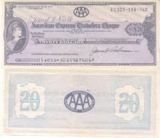 AMERICAN EXPRESSS TRAVELERS CHEQUE U$S 20.- AMERICAN AUTOMOBILE ASSOCIATION TBE NEW - PERFECT THOMAS DE LA RUE & COMPANY - Cheques & Traveler's Cheques