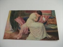 ILLUSTRATORE J. KRANZLE  WIEN DONNA  SCONSOLATA PENE DI CUORE FANTASIA - Kraenzle