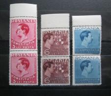 Romania 1938  Mi 549-51,  ** MNH,  Blocks Of 2 Stamps - Nuevos