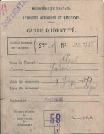 NORD PAS DE CALAIS - 59 - NORD - BEUVRAGES - Carte D'identité - Ministère Du Travail 1922 - Non Classés