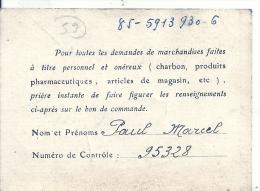 NORD PAS DE CALAIS - 59 - NORD - ANZIN - Union Des Sociétés Mutualistes - Carte De Membre - Vieux Papiers