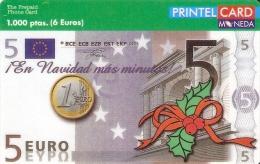 TARJETA DE PRINTELCARD DE UN BILLETE DE 5 EUROS Y MONEDA- COIN-BANKNOTE-NAVIDAD (CHRISTMAS) NUEVA-MINT - Sellos & Monedas