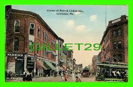 LEWISTON, ME - CORNER OF MAIN &  LISBON STREET - ANIMATED - ALDEN'S DRUG STORE - - Lewiston