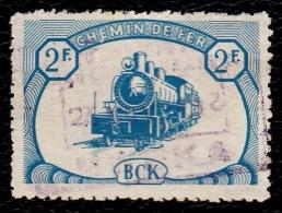 "CANCEL TYPE 8 !! BCK BELGIAN CONGO RAILWAY USED 1942 "" MWEKA "" FIRST SERIE 2Fr. - RARE !!!"