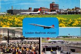 AK FLUGWESEN AERODROME AIRPORT LONDON HEATHROW    ALTE POSTKARTE 1978 - Aerodrome