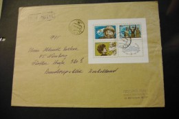 Russia 4092 Woman Astronaut Tereshkova Souvenir Sheet Block On Cover 1973 A04s - 1923-1991 URSS