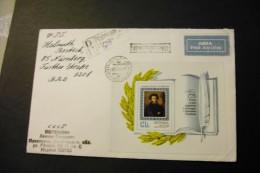 Russia 4202 Pushkin Souvenir Sheet Block On Registered Cover 1974 A04s - 1923-1991 URSS