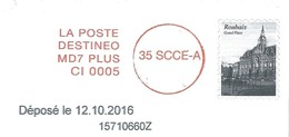 Envoi Destineo MD7 Avec Simili Timbre Grand Place De Roubaix - Marcofilia (sobres)