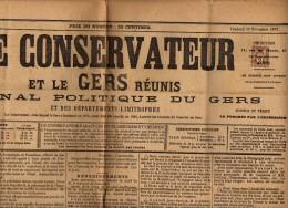 Journal Le Conservateur Et Le Gers Réunis Complet Du Vendredi 16 Novembre 1877 - Yvt N° 85 Oblitéré Typo - Kranten