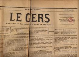 Journal Le Gers Complet Du Jeudi 13 Août 1874 - Yvt N° 51 Oblitéré Typo - Kranten