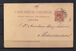 1891 BARCELONA, ENTERO POSTAL ED. 29, CIRCULADO A MANZANARES - Stamped Stationery