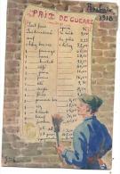 Carte peinte � la main hand painting -  avec tarif denr�es sur ROUBAIX en 1918  timbr�e RARE et bien ex�cut�e