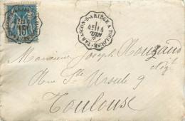 LETTRES Lettre  1883  Type Sage 15 C Bleu De Pamiers Ambulant   Tarascon Sur Ariège à Toulouse  2 Scans - Marcophilie (Lettres)