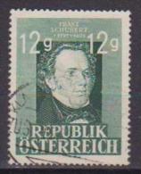 AUSTRIA  1947 FRANZ SCHUBERT UNIF. 665 USATO VF - 1945-.... 2. Republik