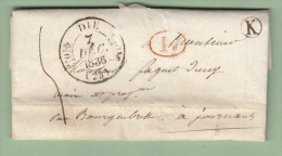 C47) LAC De Die (Drome) Pour Journans Le 7 Décembre 1836, T 11, Taxe Manuscrite, BR = K Identifiée, Ind 9 - Storia Postale