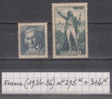 France (1934-36) Y/T N° 295 Neuf * + 314 Neuf * à 15% De La Cote! - Francia