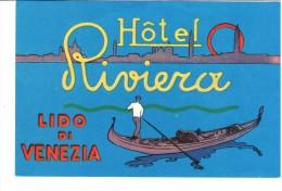 ETIQUETA DE HOTEL  -   HOTEL  RIVIERA  -LIDO DI VENEZIA - Etiquettes D'hotels