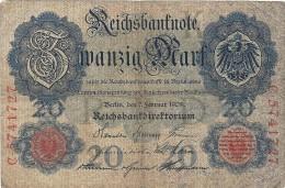 - A.1908 - 20 Mark - Reichsbanknote - Usagé - N°  C.5741727 - - 20 Mark