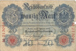 - A.1914 - 20 Mark - Reichsbanknote - Usagé - N°  M.213092 - - 20 Mark