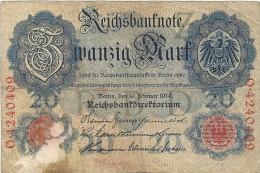- A.1914 - 20 Mark - Reichsbanknote - Usagé - N° O.4240409 - - 20 Mark