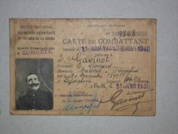 Ref3793 E1325 - Carte Du Combattant Poilu Né En 1891, Délivrée En 1935 En Corrèze - Document Historique - Documentos Históricos