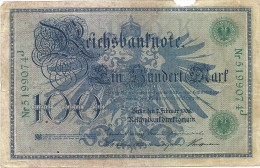 - A.1908 - 100 Mark - Reichsbanknote - Usagé - N° 5199074 J - - [ 2] 1871-1918 : German Empire