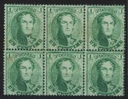 "Belgique - 1865 L�opold 1e - 1 cent vert ""M�daillons dentel�s"" COB N�13B bloc de 6 **/* dent. 14 1/2 (avec certificat..."