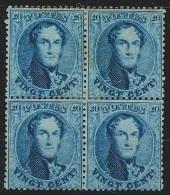 "Belgique - 1865 L�opold 1e - 20 cent bleu ""M�daillons dentel�s"" COB N�15B bloc de 4 * dent. 14 1/2 (avec certificat W..."