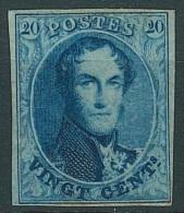 """Belgique - 1861 L�opold 1e - 20 cent bleu """"M�daillons allong�s"""" COB N�11 * (r�par� au-dessus)"""