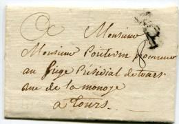 PARIS LSC Du 10/08/1772 Avec P Couronné Marque LENAIN N°9  Taxe De 8 Pour TOURS( 2 Scans) - Marcophilie (Lettres)