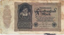 - A.1922 - 5000 Mark - Reichsbanknote - Usagé - N° B.00680525 - - [ 3] 1918-1933 : République De Weimar