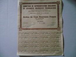 Algérie : Introuvable Car Seulement 400 Exemplaires :  Action De 100 NF Comptoir De Représentation De Grandes Marques.. - Shareholdings