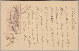 MOTIV SCHOKOLADE 1899-04-21 Genève Privatganzsache Ph. Suchard Nach Vevey (Fabrik) - Alimentation