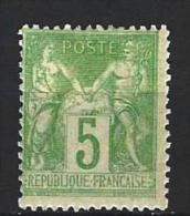 "YT 102 "" Sage 5c. Vert-jaune "" 1898 Neuf* - 1898-1900 Sage (Type III)"