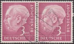 Allemagne 1954 Michel 196 Theodor Heuss, Paire Horizontale 3 DM