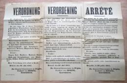 """affiche original """"Exportation marchandises, Instruments chirurgie, Animaux laboratoire"""" 1915"""