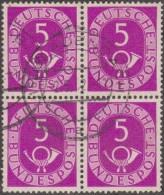 Allemagne 1951 Michel 125  Posthorn, Cor De Poste, Bloc De 4 Du 5 Pf - [7] République Fédérale