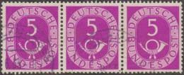 Allemagne 1951 Michel 125  Posthorn, Cor De Poste, Bande De 3 Du 5 Pf - [7] République Fédérale