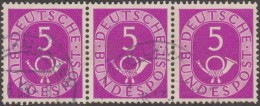 Allemagne 1951 Michel 125  Posthorn, Cor De Poste, Bande De 3 Du 5 Pf