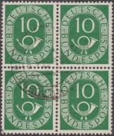 Allemagne 1951 Michel 128  Posthorn, Cor De Poste, Bloc De 4 Du 10 Pf