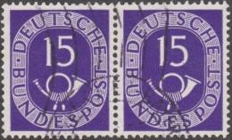 Allemagne 1951 Michel 129  Posthorn, Cor De Poste, Paire Du 15 Pf. Michel 180 €