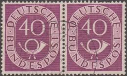 Allemagne 1951 Michel 133  Posthorn, Cor De Poste, Paire Du 40 Pf. Michel 250 €